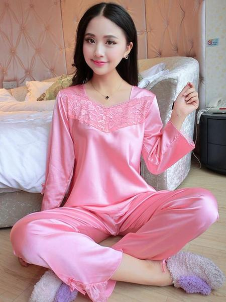 Flower Lace Satin Pajamas Set Pink